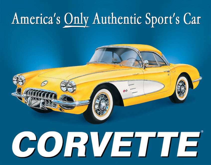 Corvette America S Sports Car Retro Metal Sign