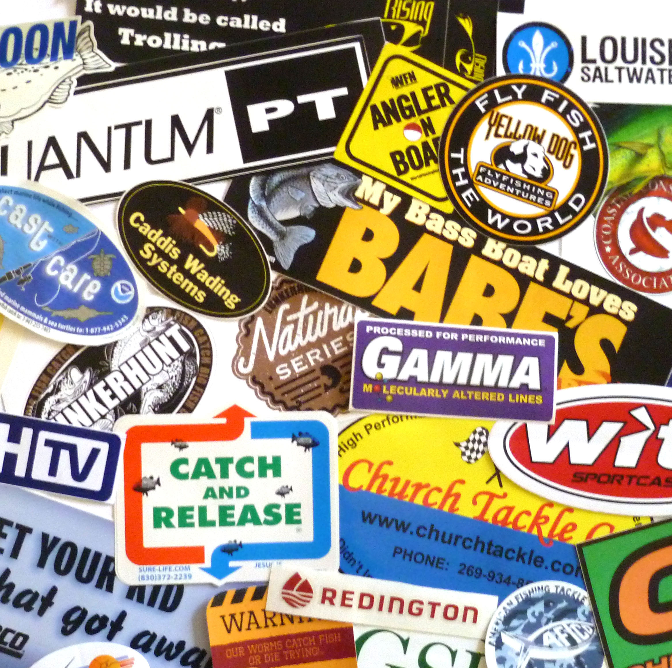 Fishing sticker decal grab bag assortment of 15 for Fishing tackle grab bag